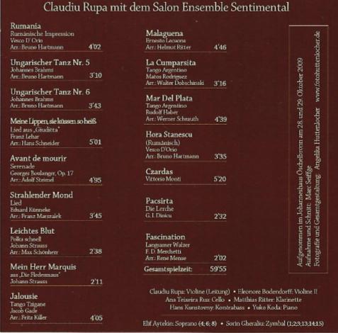 CD - Claudiu Rupa mit dem Salon Ensemble Sentimental